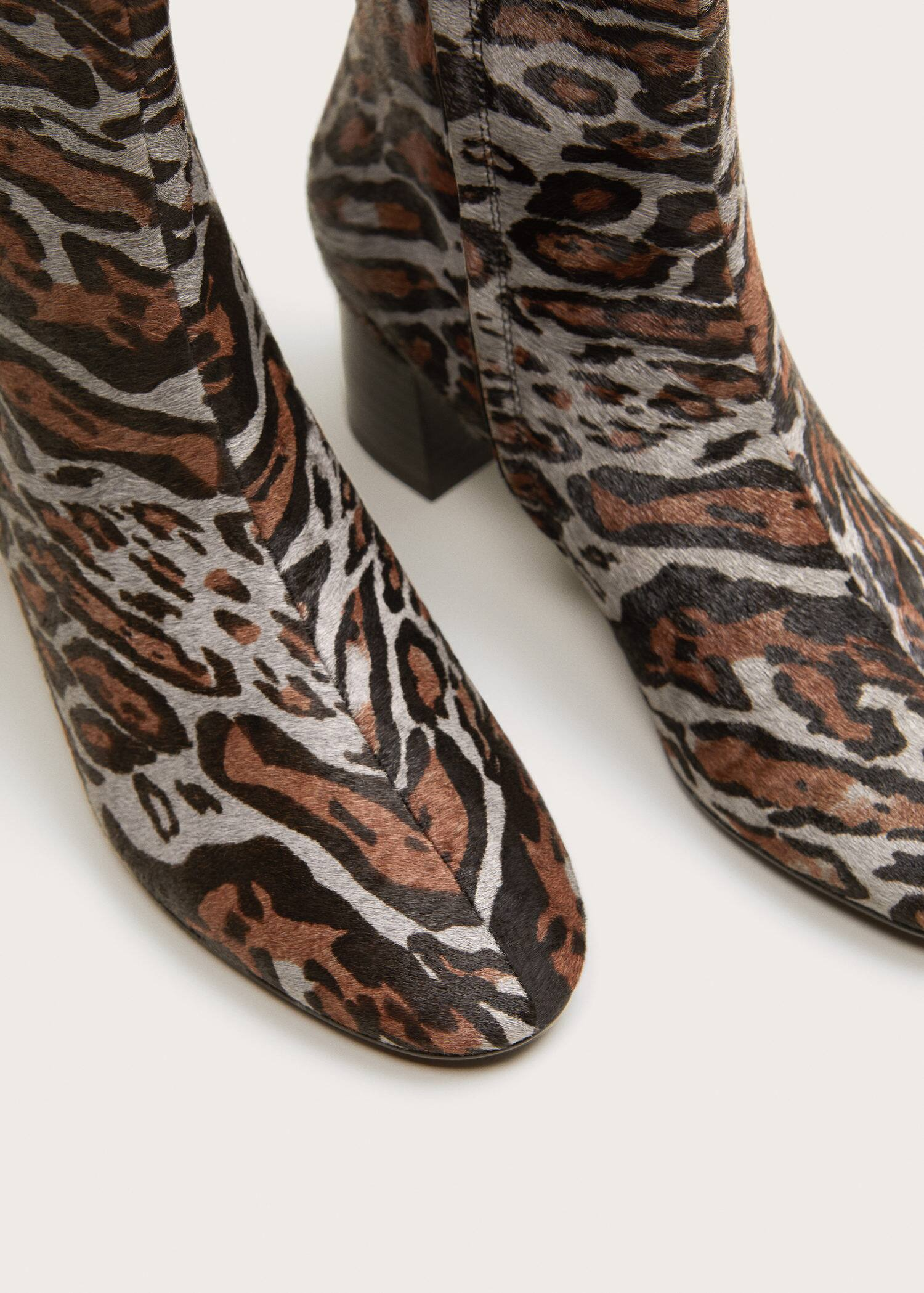 Animal print leather ankle boots - Plus