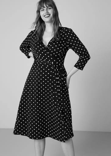 47fb4f7a96 Wrap polka-dot dress - Plus sizes | Violeta by Mango Jordan