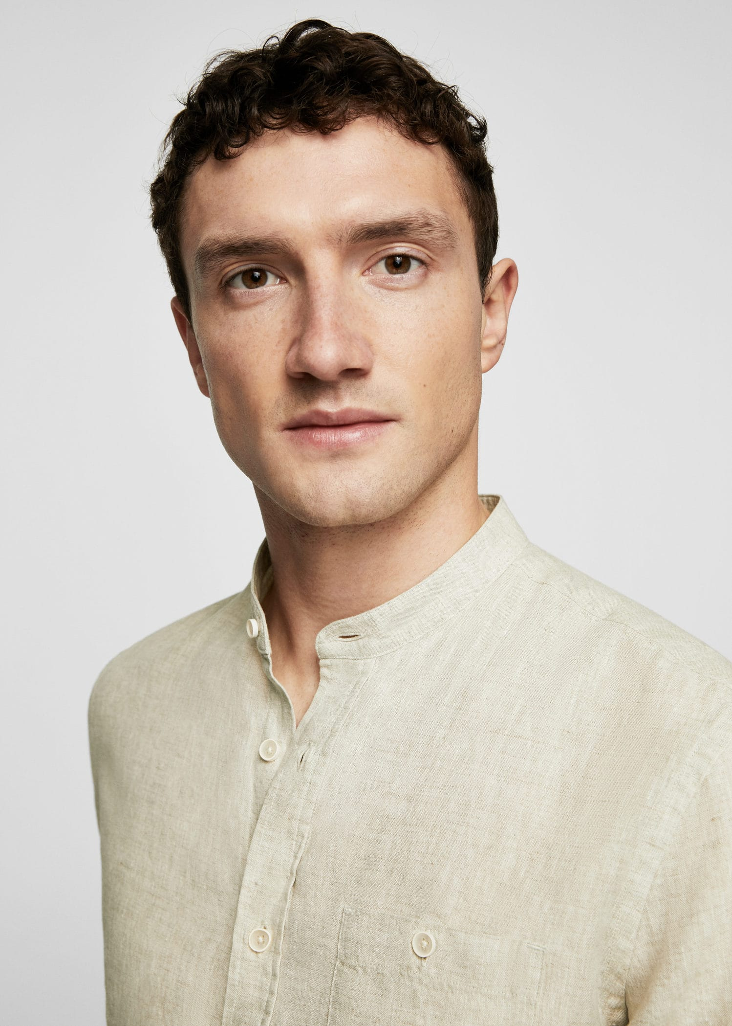 Hemd aus 100 % leinen mit mao kragen Herren | OUTLET Deutschland