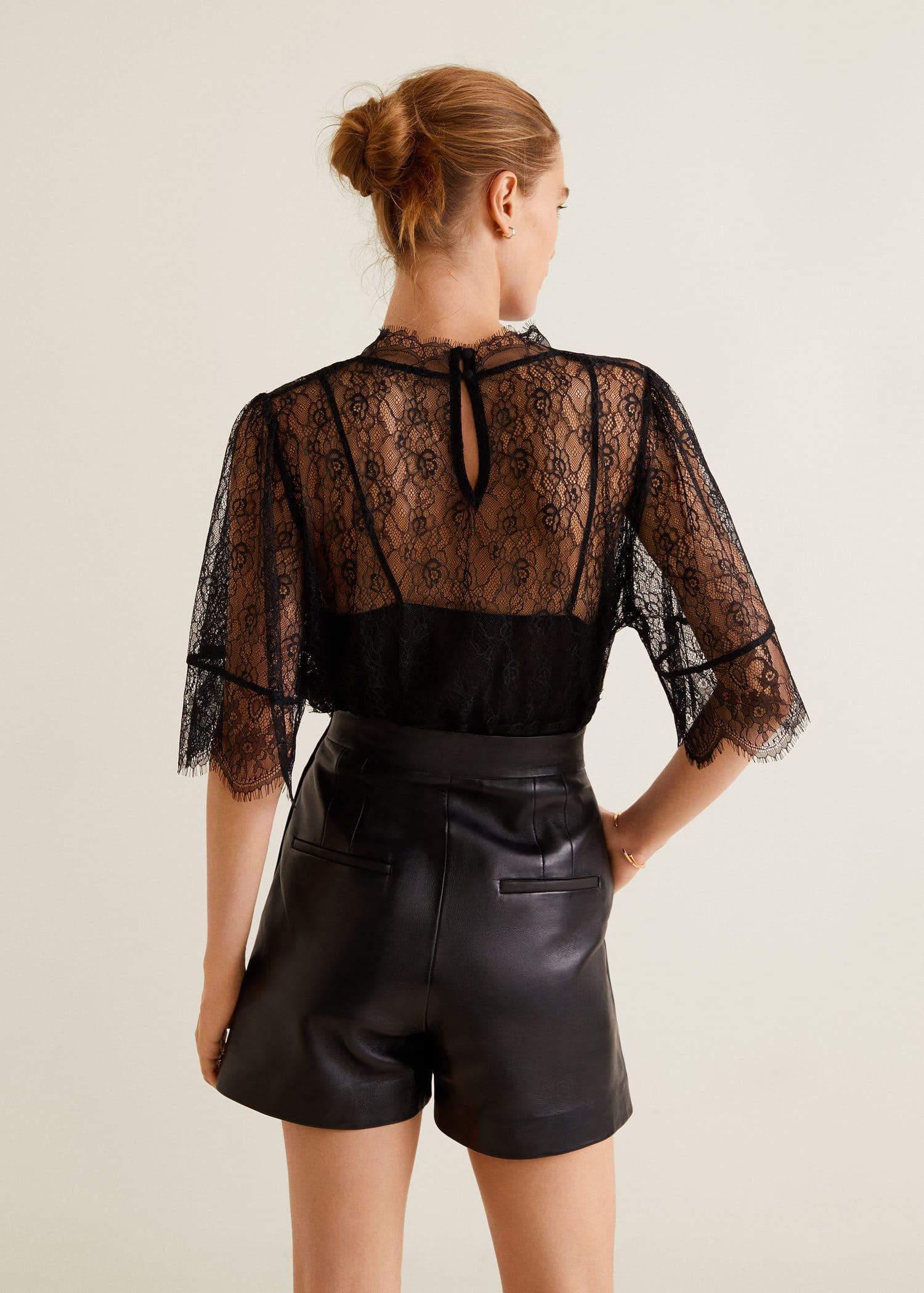 Short taille haute cuir Femme | Mango France