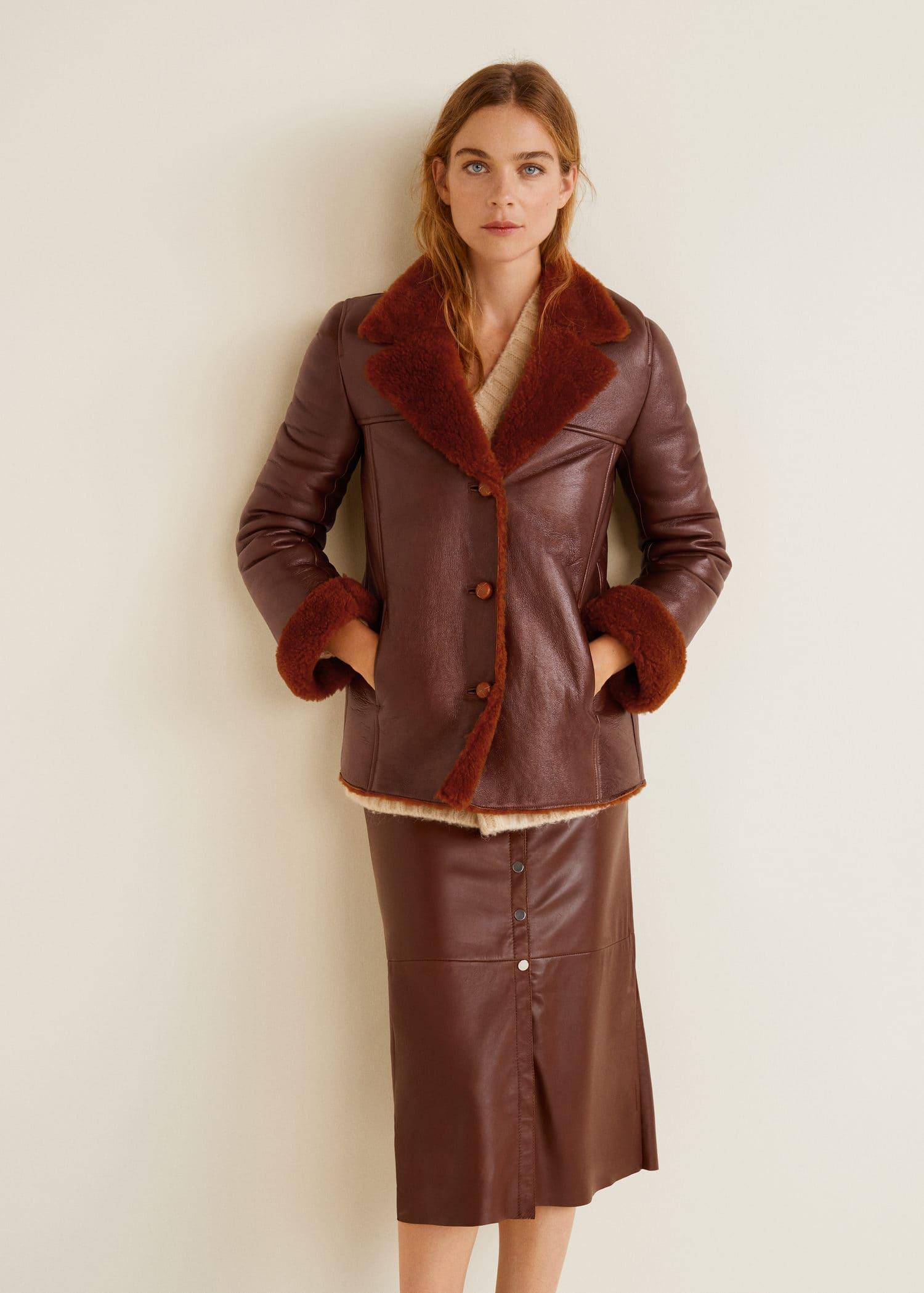 Leather Jacket Lined Mango Sheepskin Women Usa FO4xwq85n