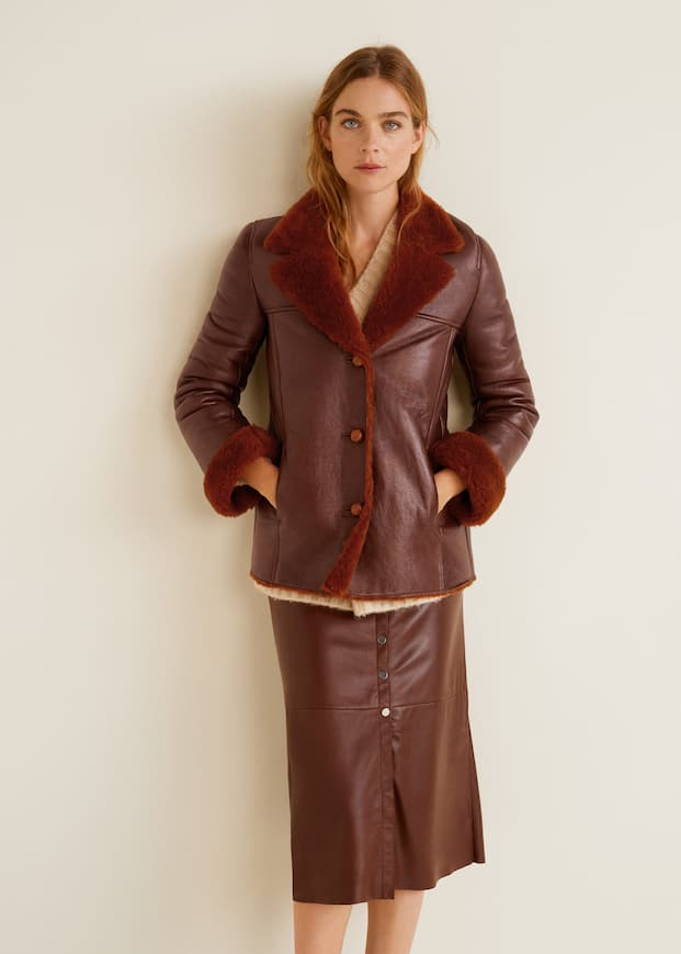 Sheepskin Lined Leather Jacket by Mango