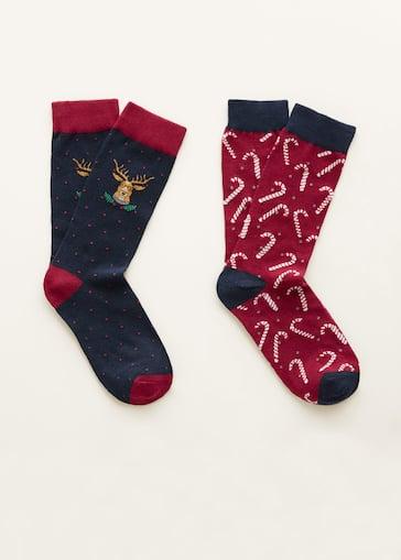 2 pack christmas printed socks men mango man usa - Christmas Socks For Men