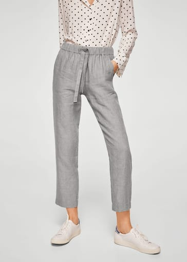 667a02097 Bow linen trousers - Women | Mango USA