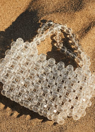 Beaded see-through bag
