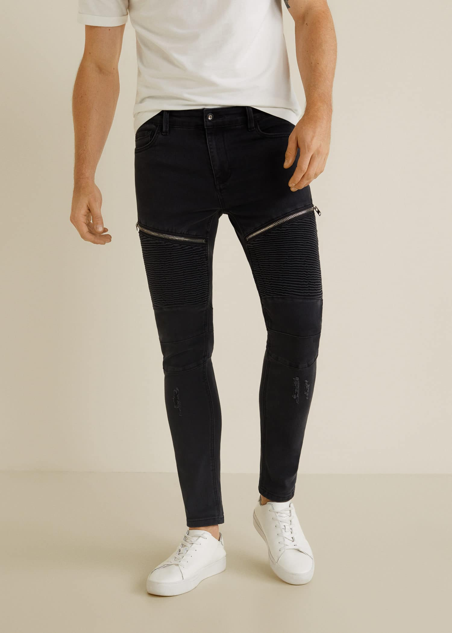 Jeans skinny estilo biker Hombre   Mango Man España