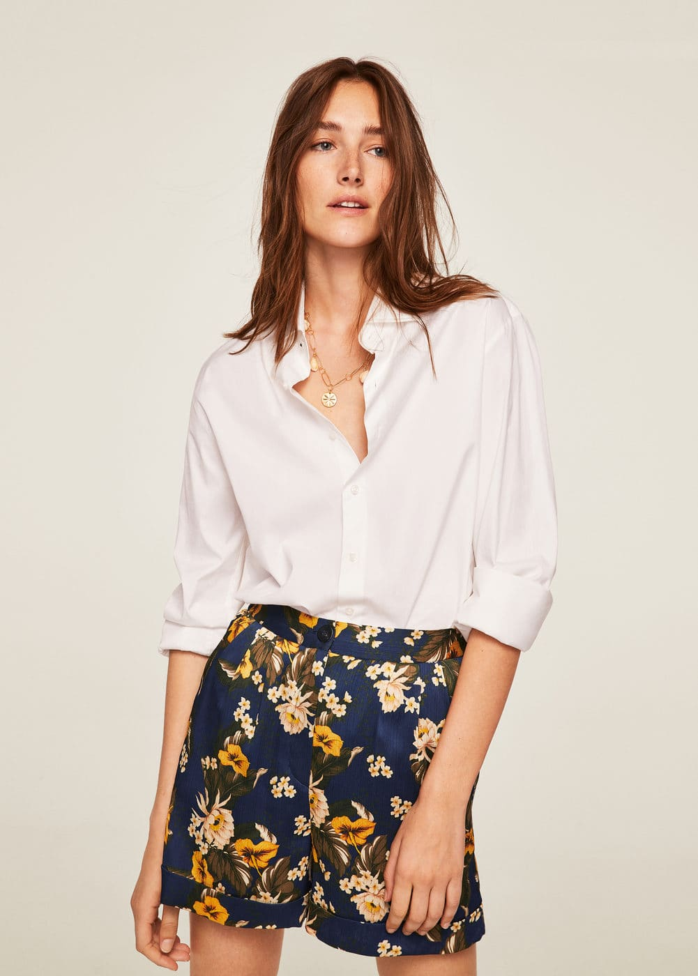Flower Print Flowy Shorts by Mango