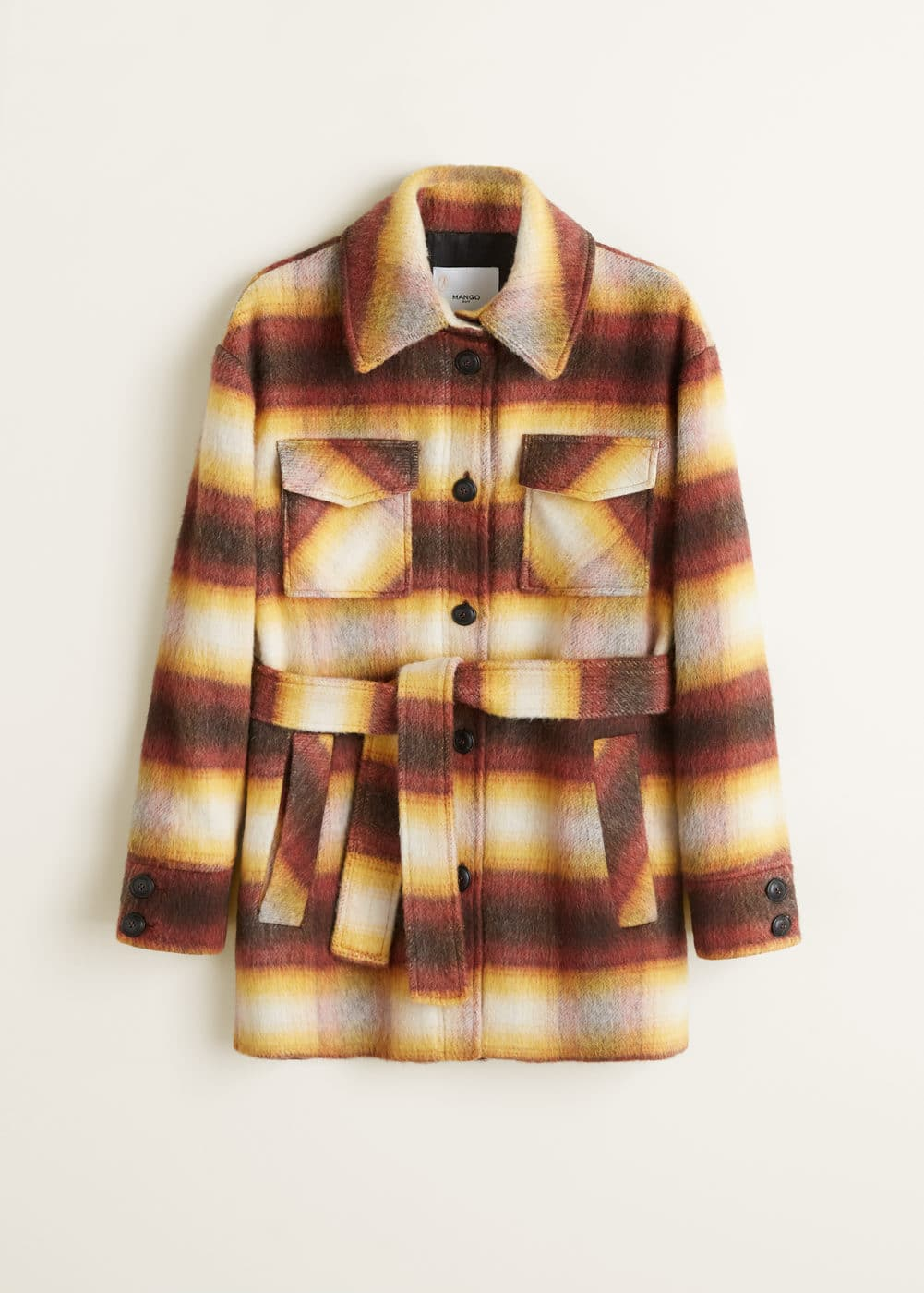 Checkered Wool Blend Coat by Mango