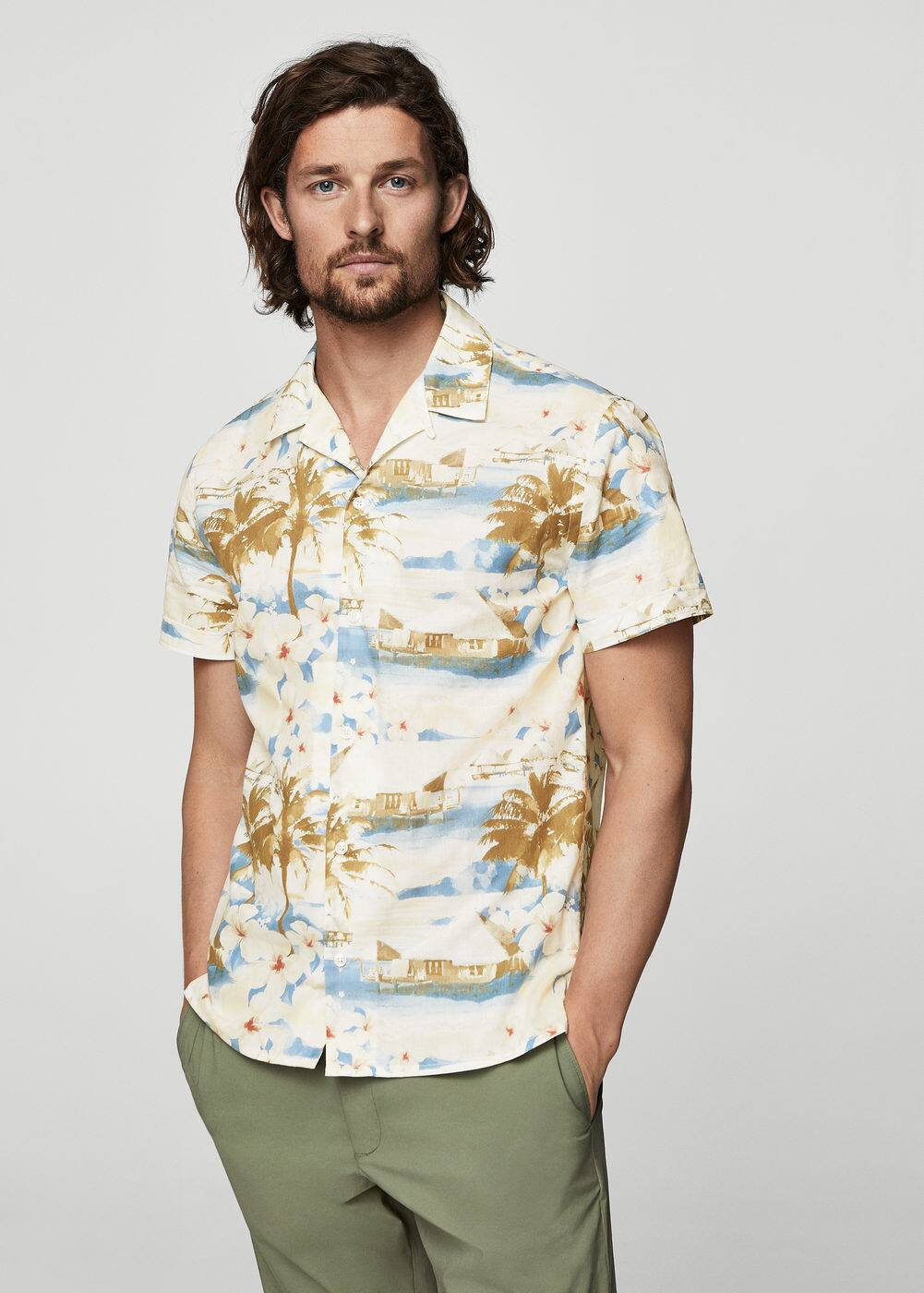 h-harold:camisa regular fit estampado tropical