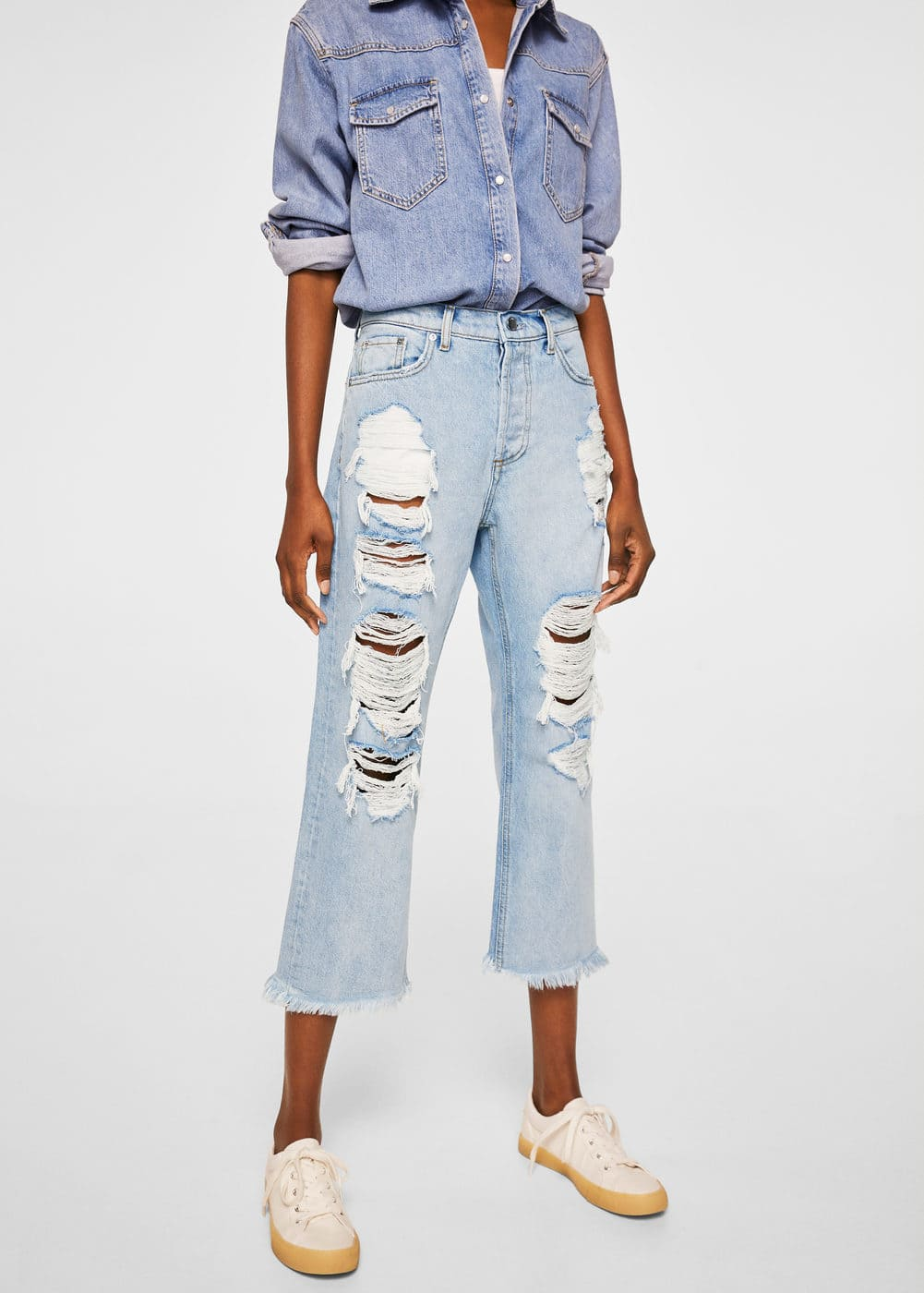 Decorative Rips Relaxed Jeans by Mango