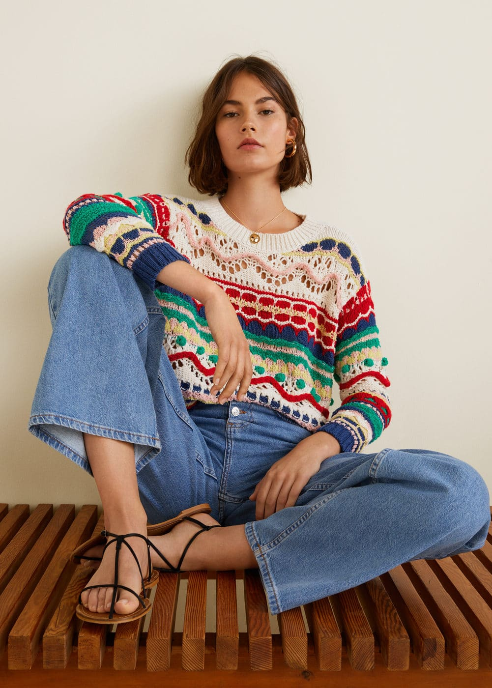 Textured Multicolor Sweater by Mango