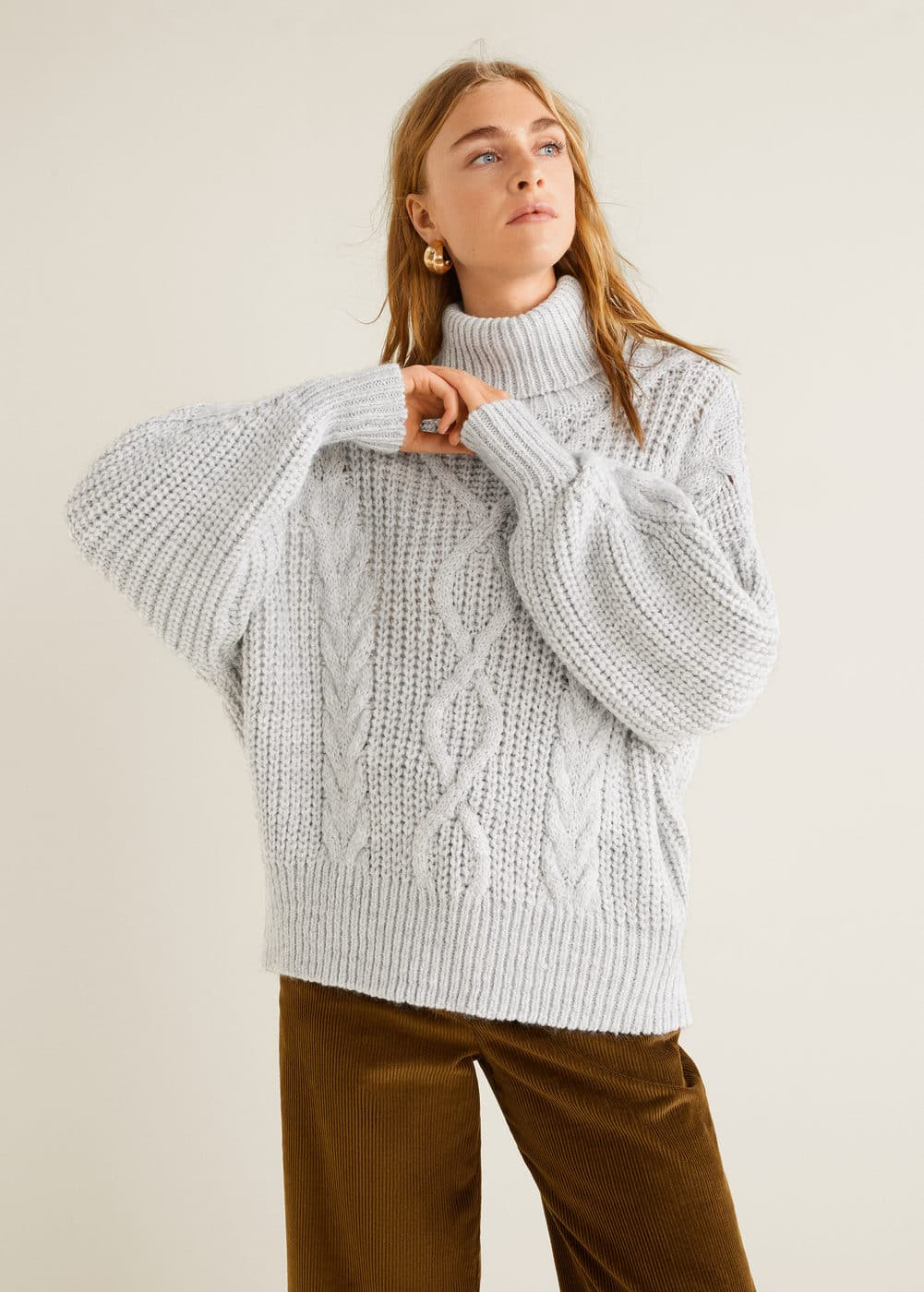 358ad3128cb6 Pull-over maille tressée - Femme   Mango France
