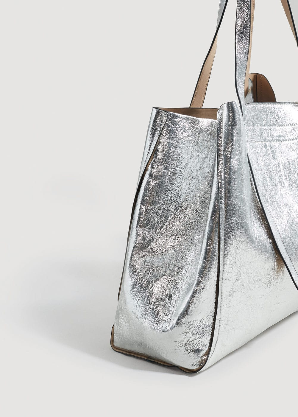 Metallic Effect Shopper Bag by Mango