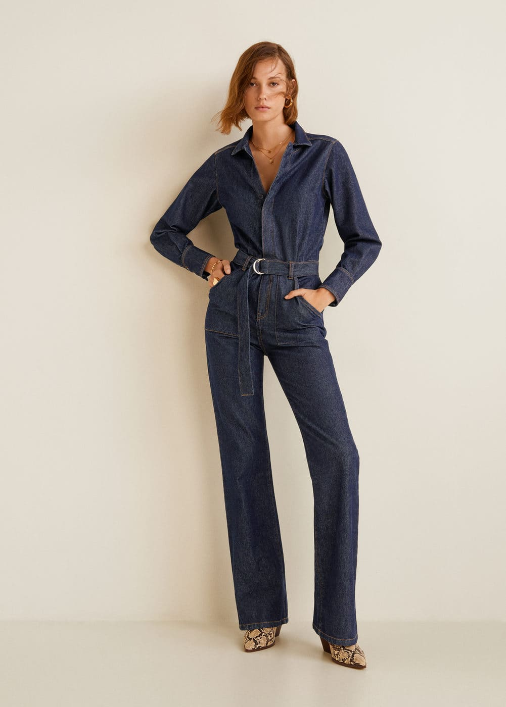 Hedendaags Belt denim jumpsuit - Women | Mango USA KC-15