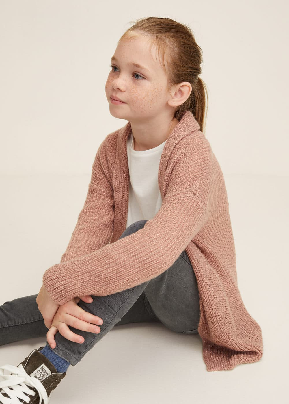 Cardigan grosse maille - Fille   MANGO Kids France e0a7e82fe2f4
