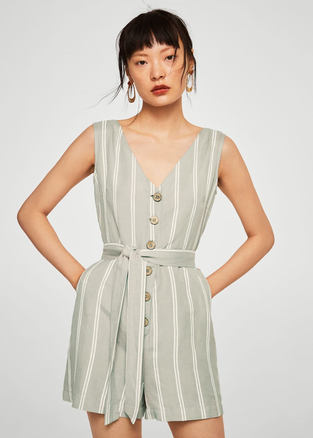 Linnen Jumpsuit Met Strik by Mango