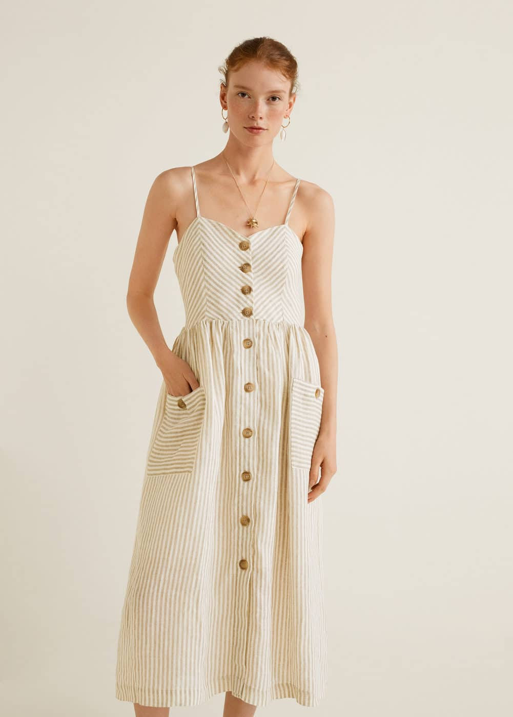 Pockets Linen Blend Dress by Mango