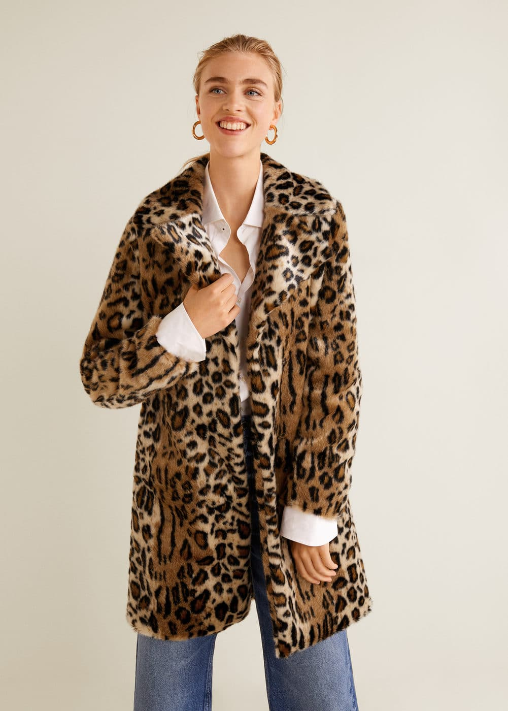 Romania Coat WomanMango Leopard Fur Faux tQrdhCBsx
