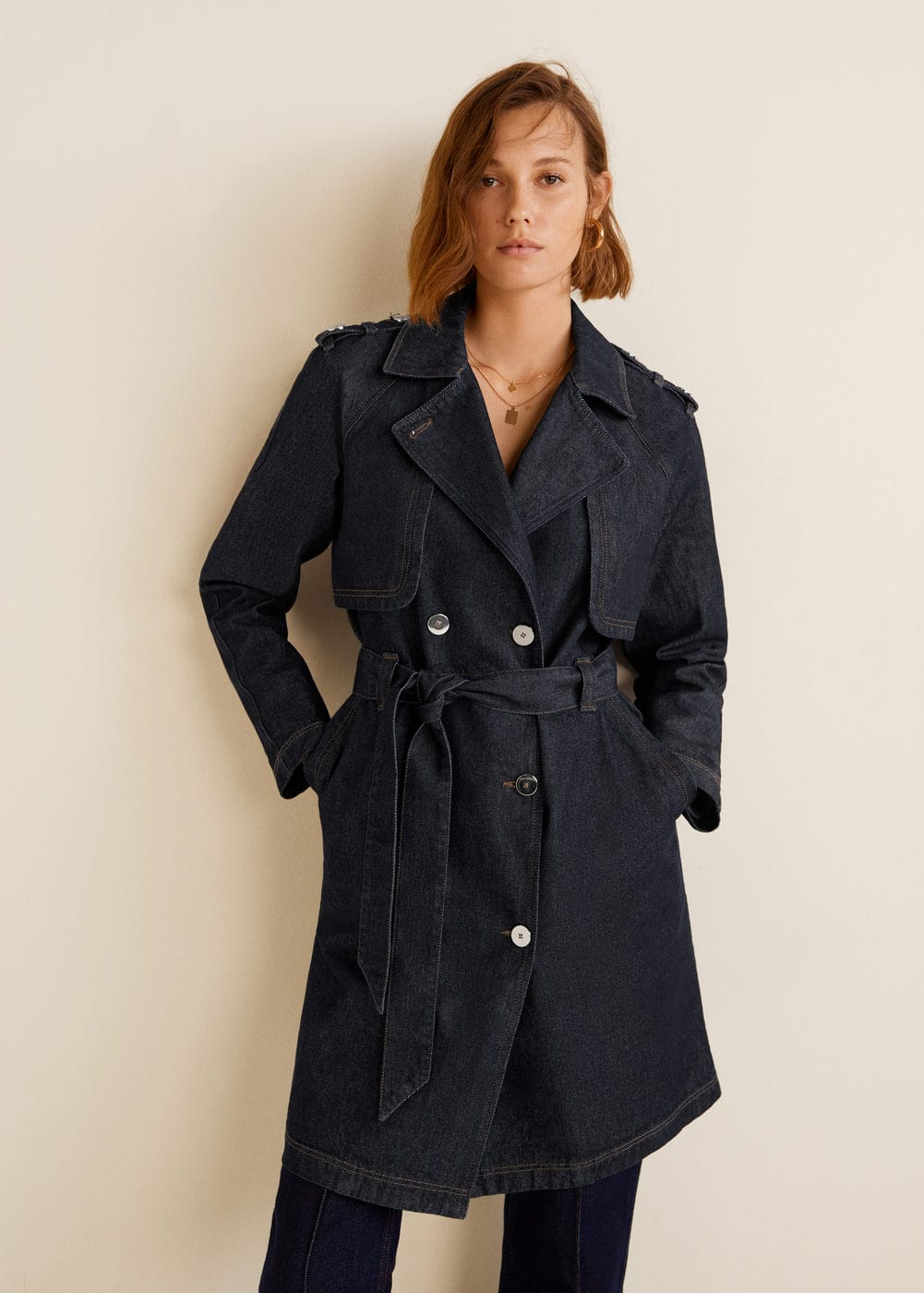 df3919939 Double breasted denim trench - Woman | MANGO Lebanon