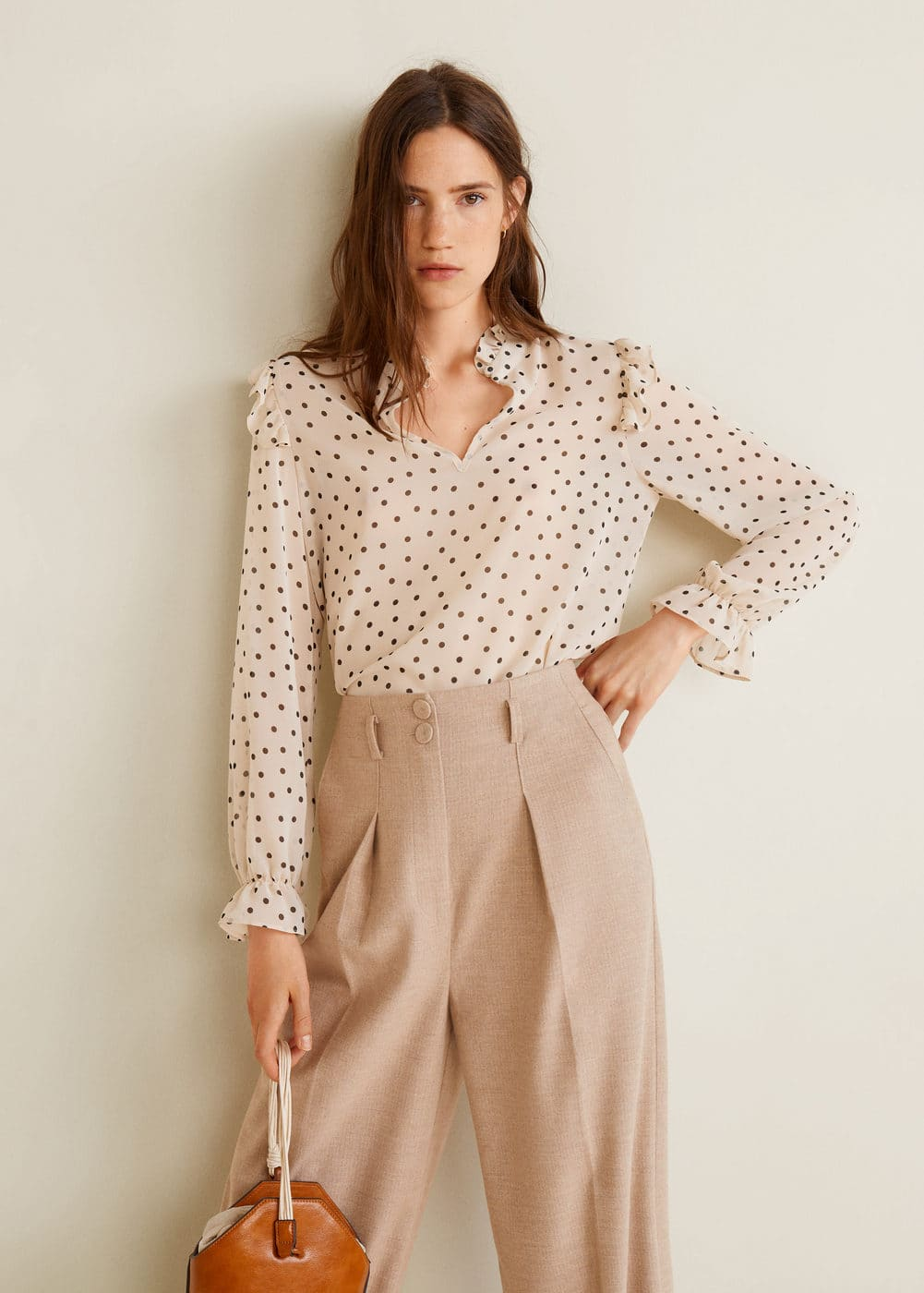 Ruched Neck Blouse by Mango