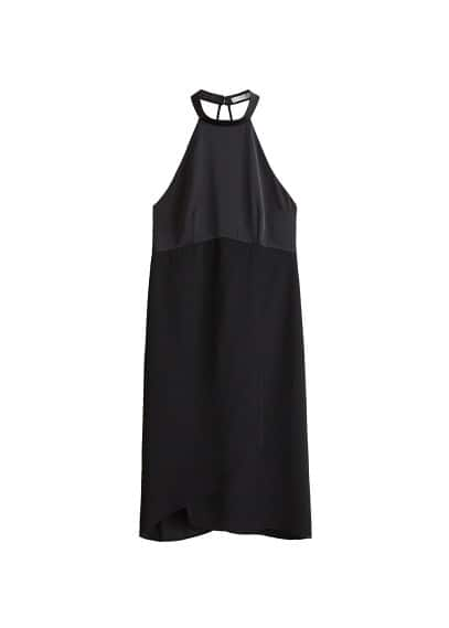 MANGO Contrasting satin dress