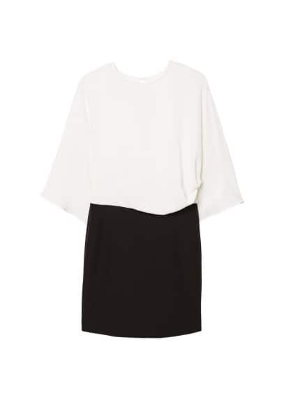 MANGO Monochrome contrast-bodice dress