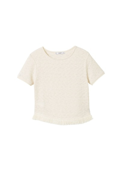 MANGO Fringed detail knit top