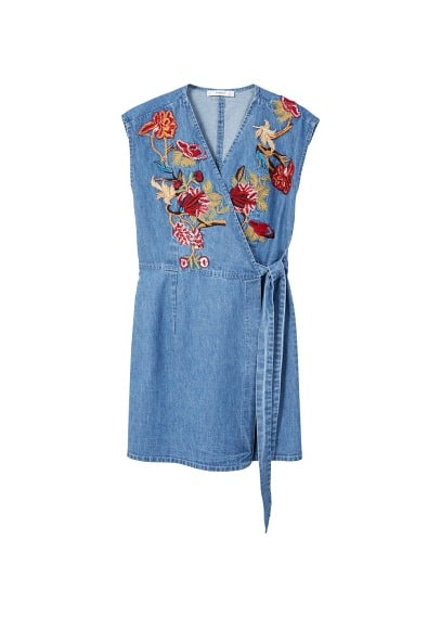 MANGO Flower embroidered denim dress