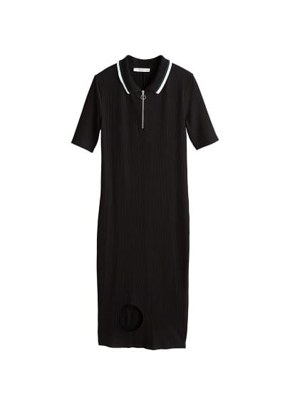 MANGO Ribbed midi dress