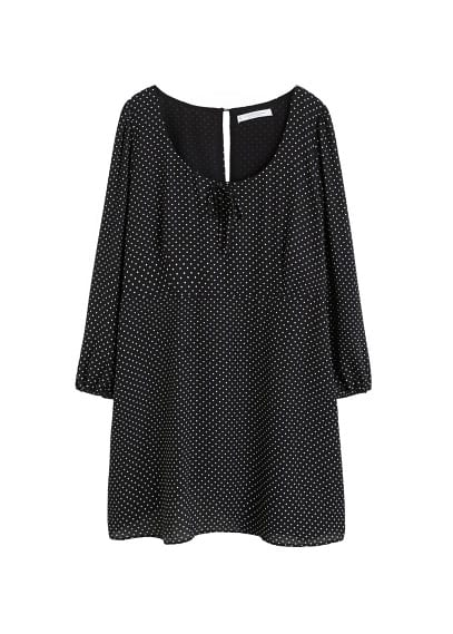 Violeta BY MANGO Bow polka-dot dress