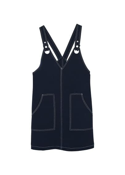 MANGO Contrasting seams pinafore dress