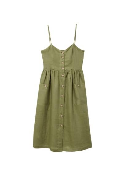 MANGO Pockets linen-blend dress