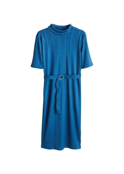 MANGO Belt ribbed dress