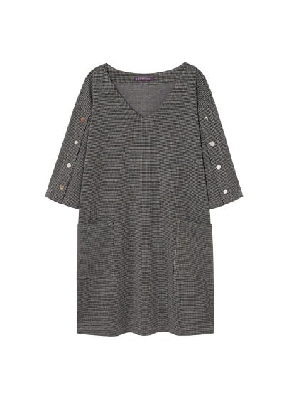 Violeta BY MANGO Buttoned check dress