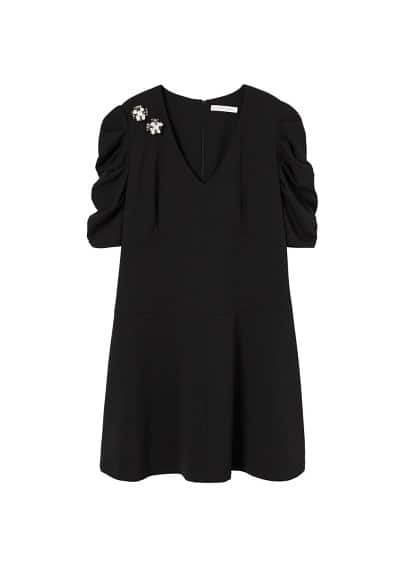 Violeta BY MANGO Appliqués puffed sleeves dress