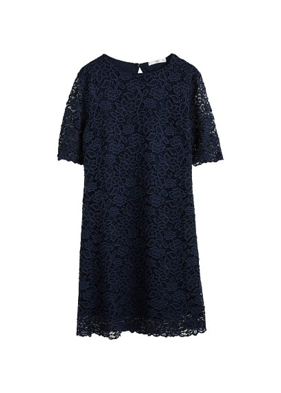MANGO Floral lace dress