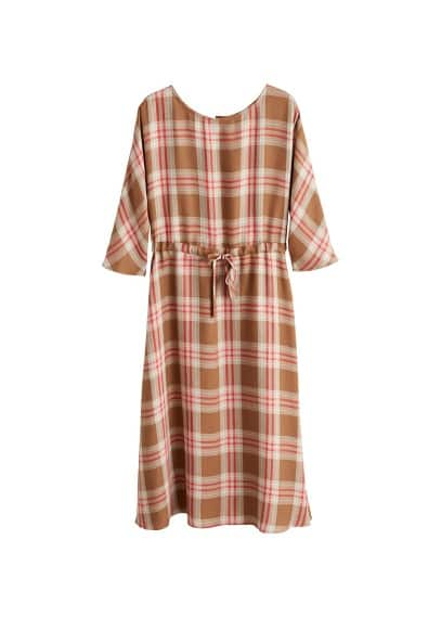 MANGO Checked linen dress