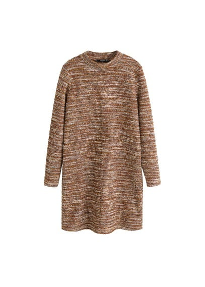 MANGO High collar tweed dress