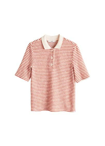 MANGO Striped cotton polo shirt