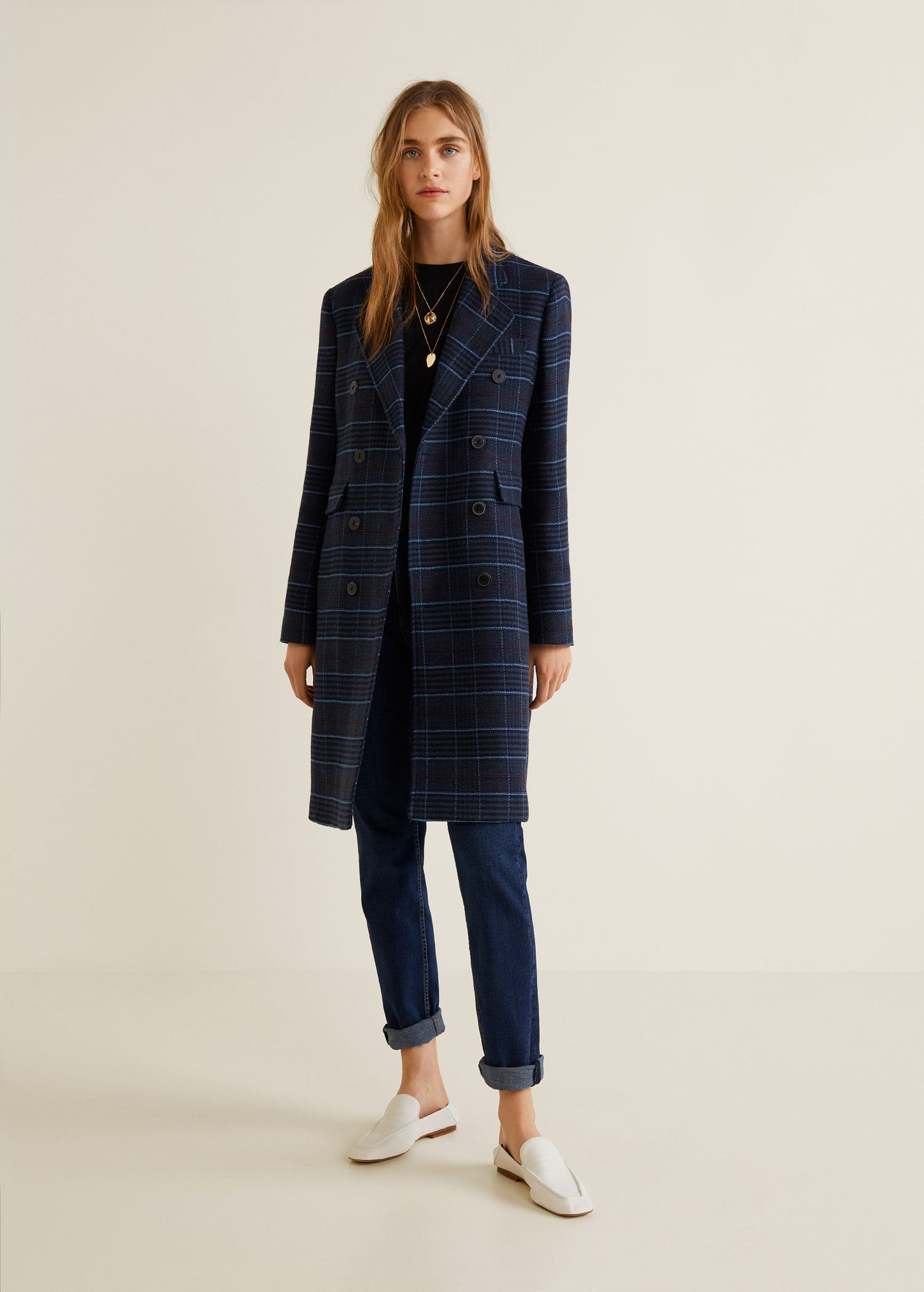Checked structured coat