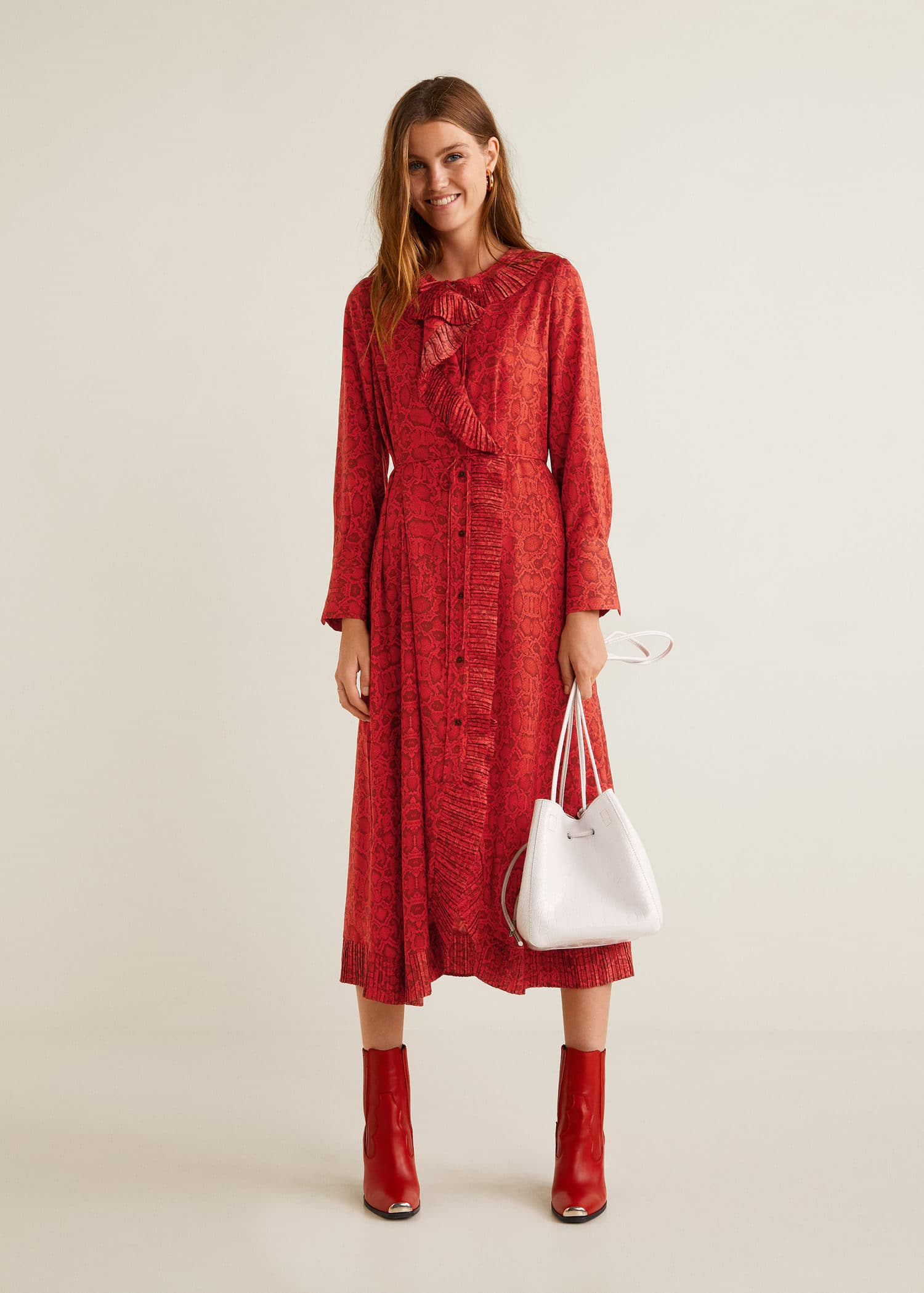 Snake print gown - RED - MANGO - £69.99