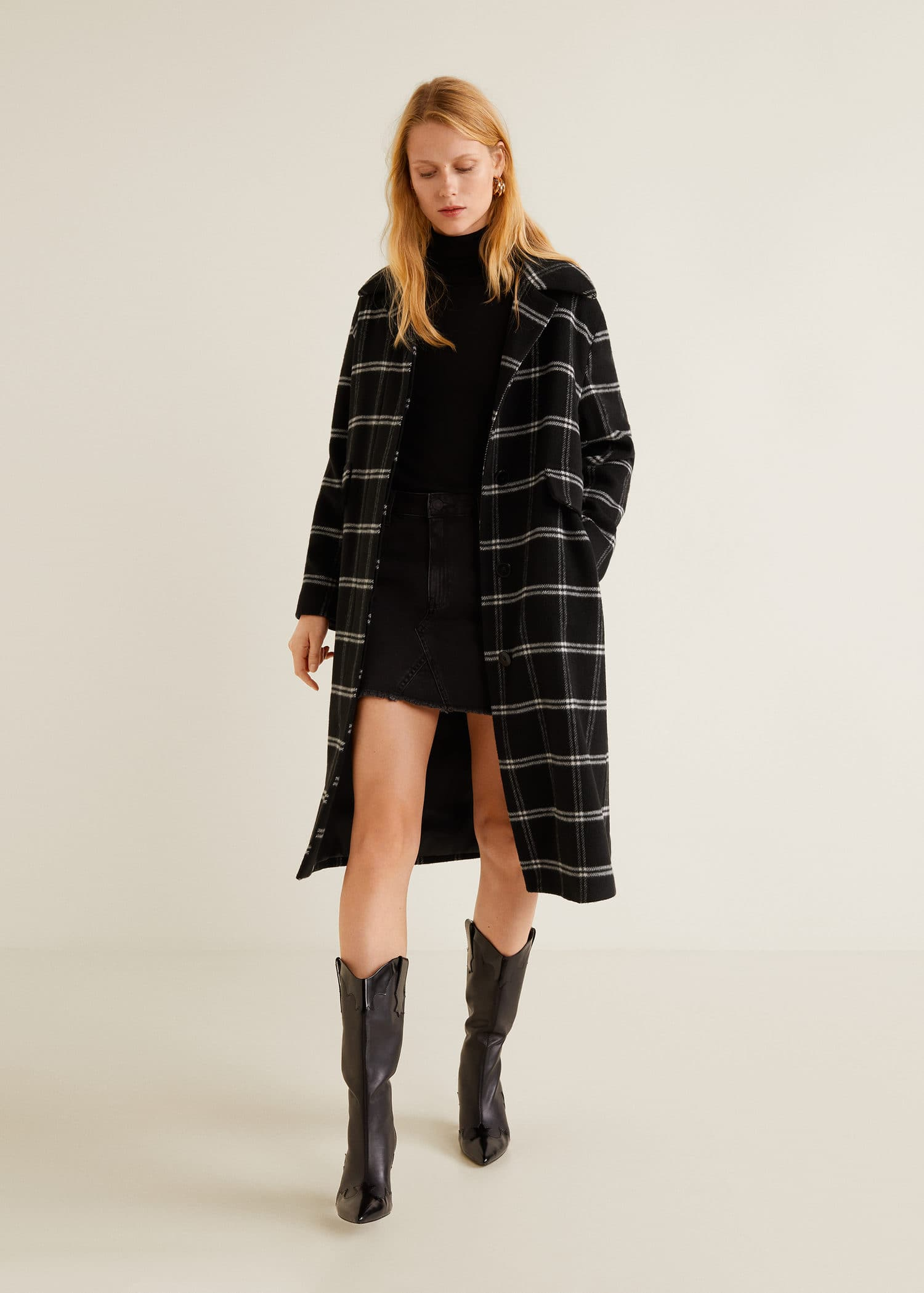 Checkered wool-blend coat
