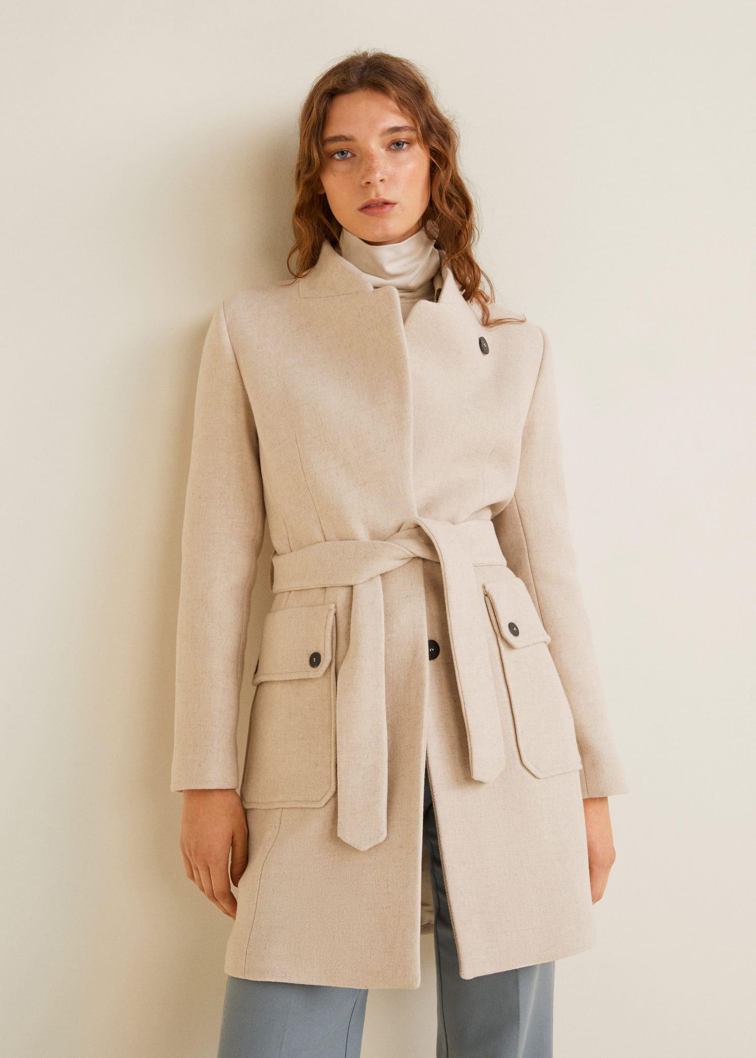 Manteau en laine avec ceinture - Femme   Mango Tunisie 0d6e02d57eb