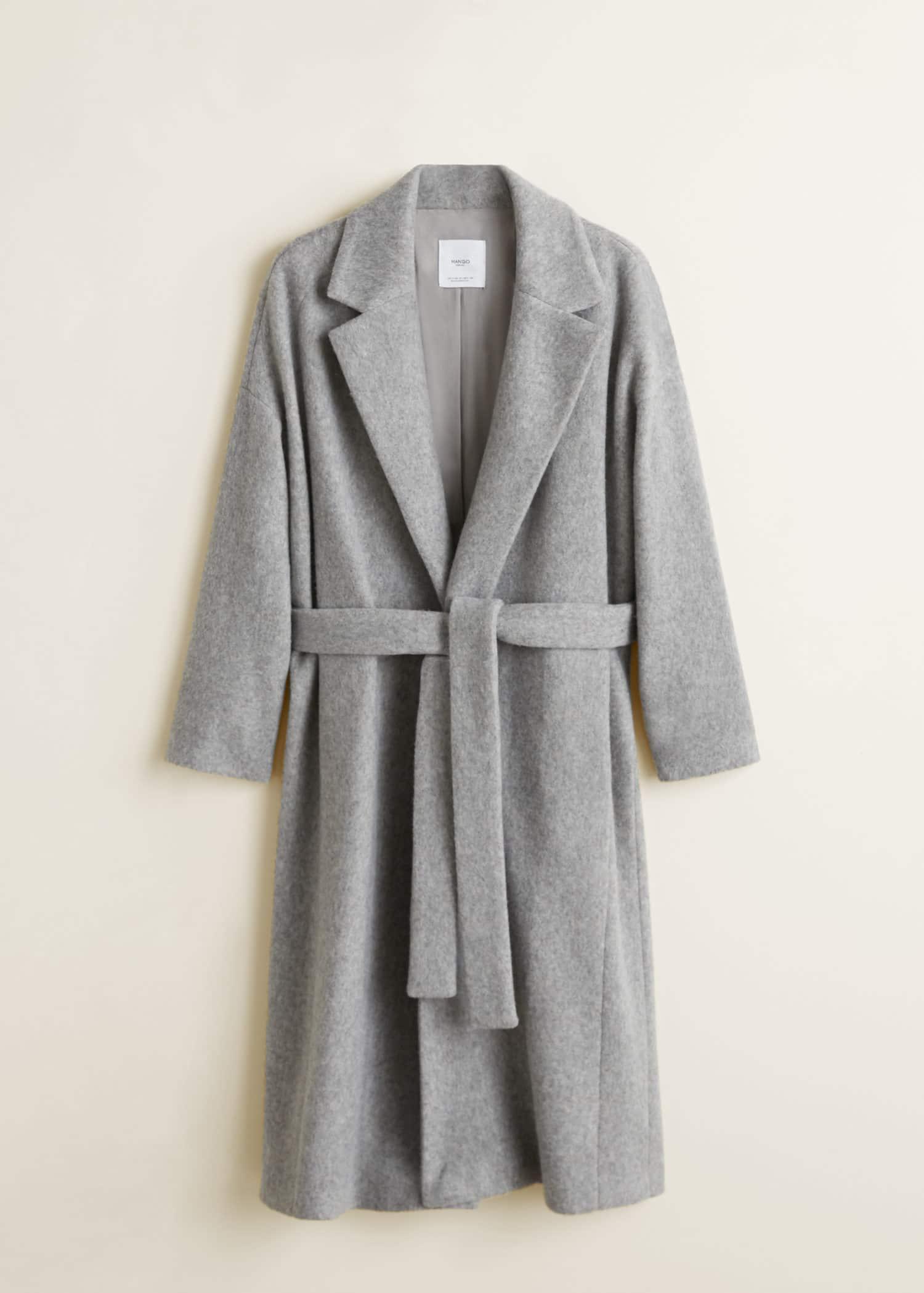 Manteau en laine avec ceinture Femme | Mango France