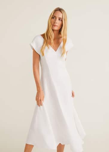 83ec33a3f7 Sukienka taliowana z miękkiej tkaniny - Plan średni