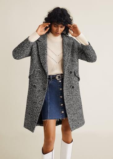 05676e8a42 Herringbone flecked coat