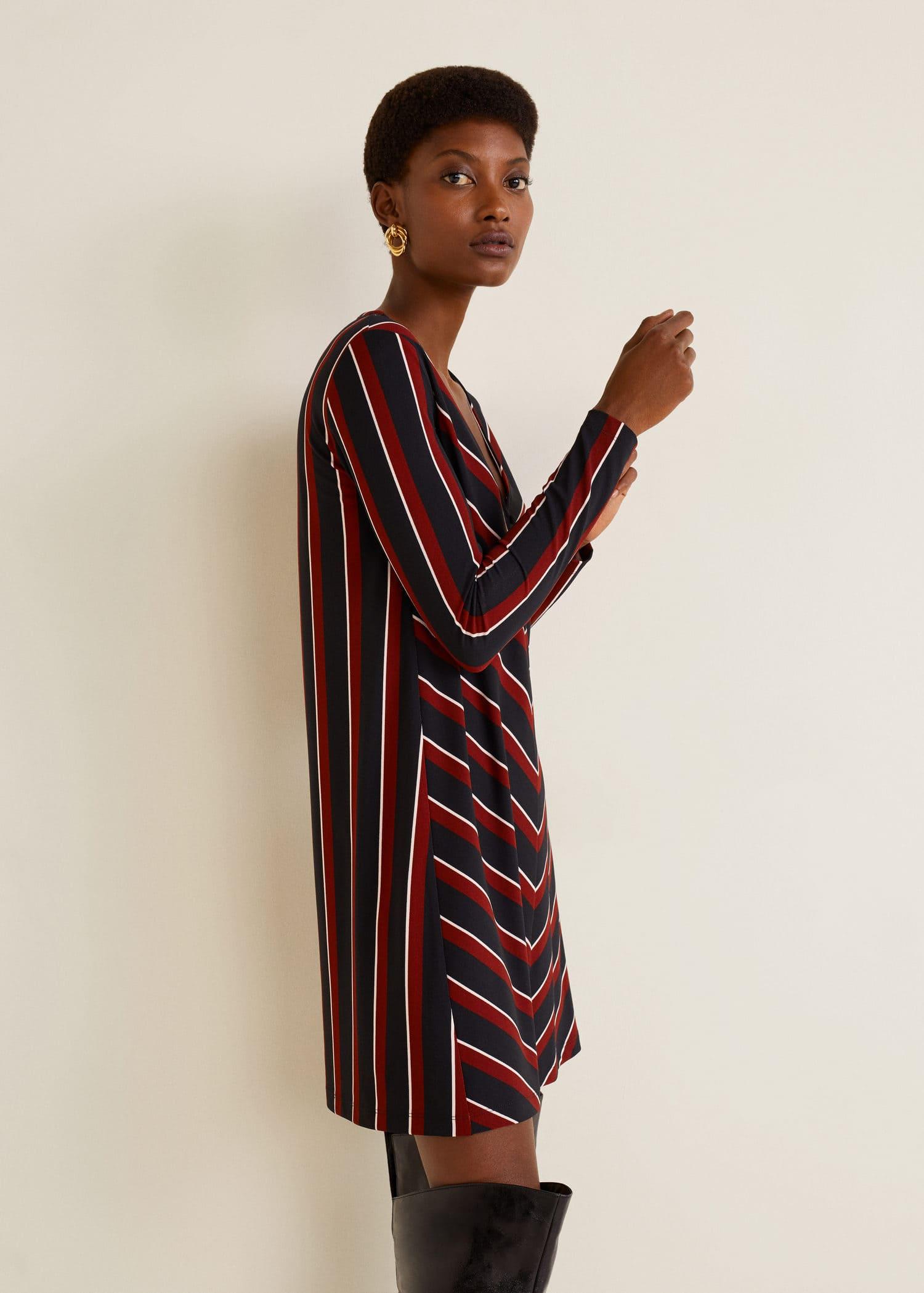 acheter comment acheter vente usa en ligne Robe maille boutons - Femme | MANGO Maroc