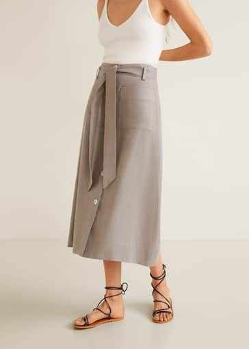 998a5a549 Linen pocketed skirt - Medium plane