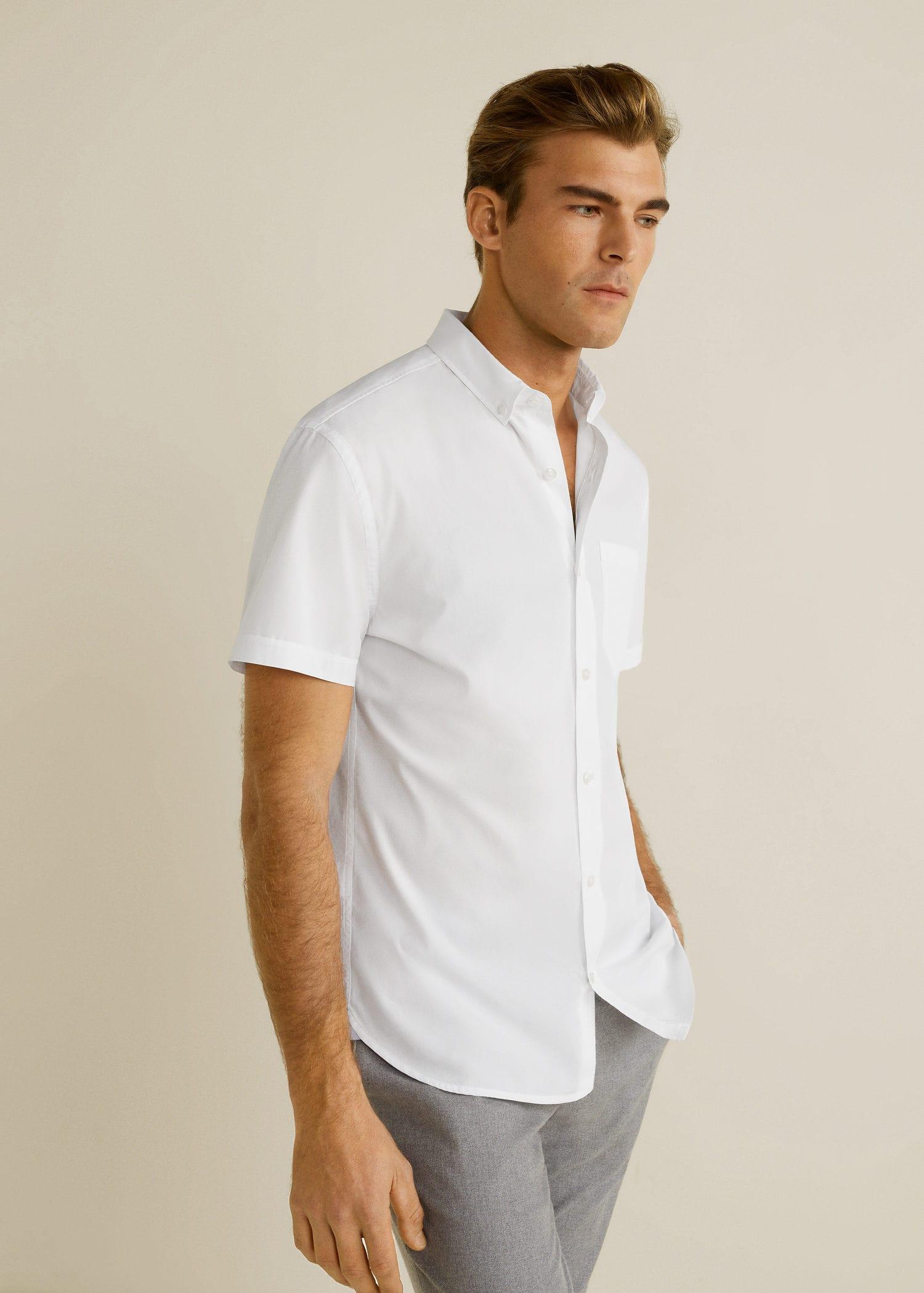 Camisa Dominicana Algodón Man Hombre Fit Regular República Mango r07vr