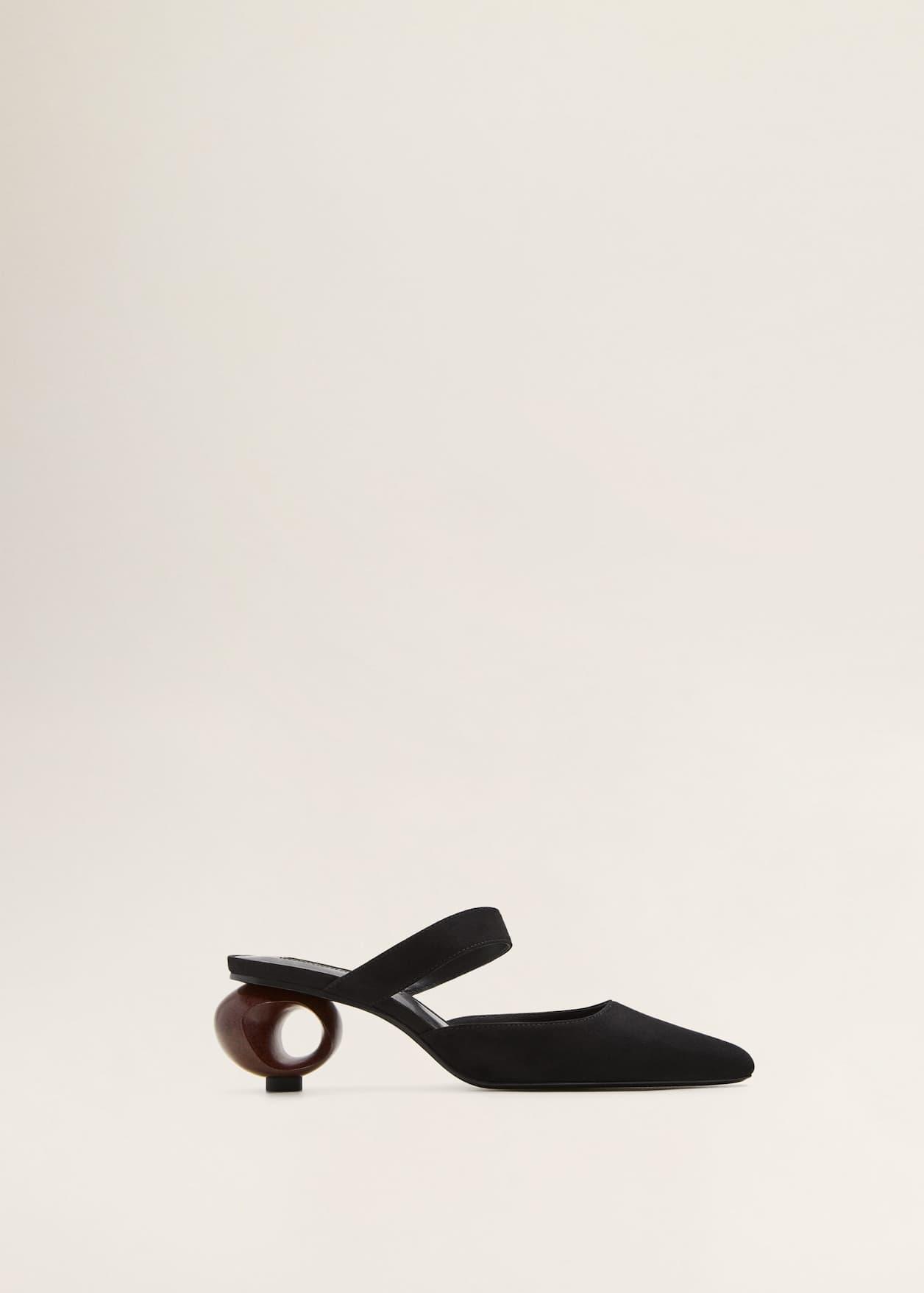 Buty skórzane na geometrycznym obcasie